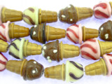 Ice Cream Cone Glass Beads 20mm (LW1536)