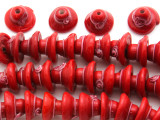 Red Hat w/Flower Lampwork Glass Beads 12mm (LW1538)