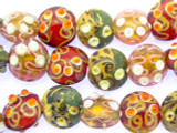 Multi-Color Foil & Dots Lampwork Glass Beads 20mm (LW1540)