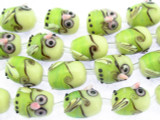 Green & Yellow Owl Glass Beads 16mm (LW1544)