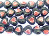 Black and Pink Heart Lampwork Glass Beads 16mm (LW1547)