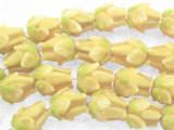 Yellow Tulip Bud Glass Beads 12mm (LW1549)