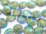 Blue & Purple Foil Round Tabular Glass Beads 16mm (LW1558)