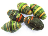 Black Ellipsoid Recycled Paper Beads 26-31mm (PA84)