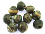 Black Saucer Recycled Paper Beads 9mm (PA85)