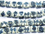 Cube w/Flowers 8mm - Glazed Blue & White Porcelain Beads (PO378)