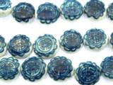 Coin w/Design 15mm - Glazed Blue & White Porcelain Beads (PO380)