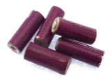 Purple Tube Recycled Paper Beads 14-15mm (PA100)