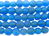 Bright Blue Recycled Glass Beads 10mm - Africa (RG598)