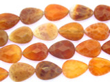 Carnelian Fire Agate Teardrop Tabular Gemstone Beads 18mm (GS3544)