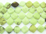 Lemon Chrysoprase Diamond Tabular Gemstone Beads 8mm (GS3545)