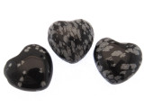 Snowflake Obsidian Heart Gemstone Pendant 25mm (GSP475)