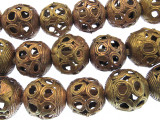 Ornate Large Round Brass Metal Beads 22mm - Ghana (ME5676)