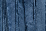 "Denim Blue Hand Stitched Silk Ribbon 42"" (SK3027)"