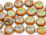 Orange Owls & Trees Decoupage Beads 16mm (DC34)