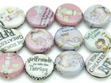 Assorted 'Best Friend' Decoupage Beads 20mm (DC84)