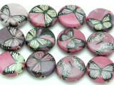Pink & Purple Butterfly Decoupage Beads 20mm (DC85)
