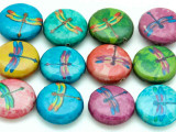 Assorted Colorful Dragonfly Decoupage Beads 20mm (DC86)