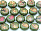 Green Owls & Leaves Decoupage Beads 16mm (DC36)
