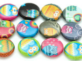 Assorted Colorful Owl Decoupage Beads 20mm (DC87)
