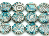 Assorted Blue Retro Paisley Decoupage Beads 20mm (DC90)