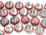 Red Sock Monkey Decoupage Beads 16mm (DC42)