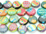 Assorted Owl Decoupage Beads 15mm (DC45)