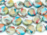 Assorted Butterfly Decoupage Beads 15mm (DC46)