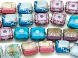 Multi-Color Flower Decoupage Beads 13mm (DC50)