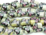 Pink Butterfly Decoupage Beads 13mm (DC53)