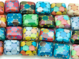 Multi-Color Polka Dots Decoupage Beads 13mm (DC56)
