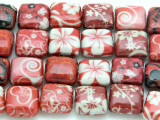 Red Hearts & Flowers Decoupage Beads 13mm (DC58)