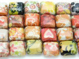 Orange & Pink Assorted Designs Decoupage Beads 12mm (DC59)