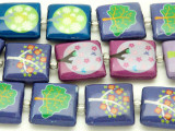 Purple and Blue Tree Decoupage Beads 20mm (DC65)