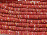 Salmon Red w/Polka Dots Sandcast Beads 12mm (SC947)