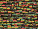 Black Multi-Color Striped Sandcast Beads 8-10mm (SC948)