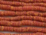 Red w/Orange Designs Sandcast Beads 20-24mm (SC949)