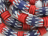 Large Blue, Red and White Sandcast Beads 30mm (SC966)