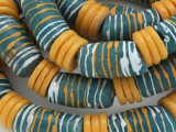 Large Turquoise and Gold Sandcast Beads 30mm (SC967)