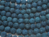 Navy Blue Lava Rock Round Beads 10mm (LAV114)
