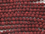 Cranberry Red Lava Rock Round Beads 6mm (LAV124)