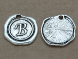 B - Pewter Wax Seal Stamp Charm 18mm (PW759)