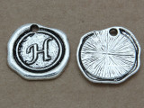 H - Pewter Wax Seal Stamp Charm 18mm (PW765)