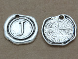 J - Pewter Wax Seal Stamp Charm 18mm (PW767)