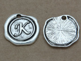 K - Pewter Wax Seal Stamp Charm 18mm (PW768)