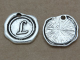 L - Pewter Wax Seal Stamp Charm 18mm (PW769)