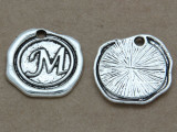M - Pewter Wax Seal Stamp Charm 18mm (PW770)