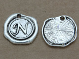 N - Pewter Wax Seal Stamp Charm 18mm (PW771)