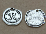 R - Pewter Wax Seal Stamp Charm 18mm (PW775)