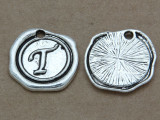 T - Pewter Wax Seal Stamp Charm 18mm (PW777)